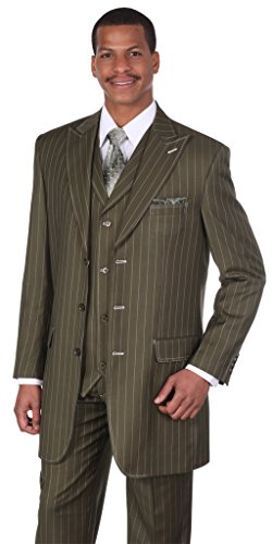 Milano Moda Men's 3pc Gangster Pin-striped Three Button Suit 5903 w/ Vest (Olive Pinstripe Suit)