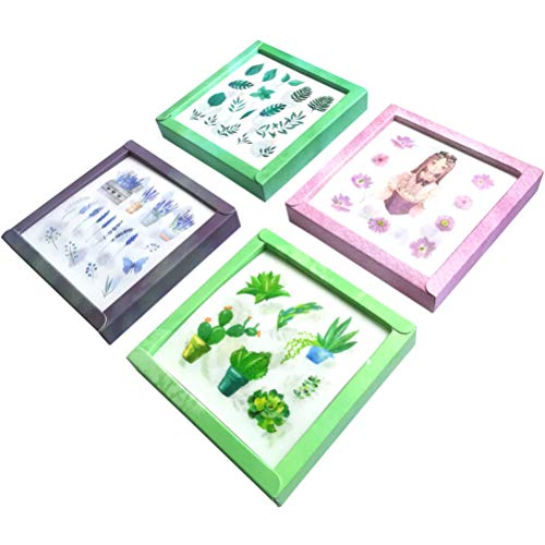 - Kawaii Washi Sticker Set (4 Box, 80 Sheets) Cute Purple Balloon Flower Heart Bird Cute Girl Whale Fish Castle Succulents Cactus Green Plant Tree Vegetable Stationery Scrapbook Planner Art Craft Lable