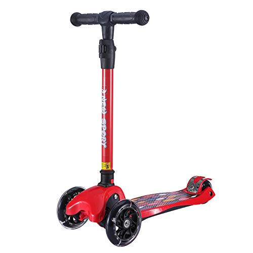 New Olym Kick Scooter for Kids 3 Wheels 4 Adjustable Height,One Second Folding Mini Skateboard with Handle Bars Great Gifts for Litter Boys Toddler &Girls 3-14 Years Red