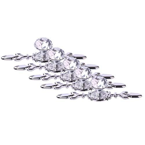"Fvstar 5pcs 6.7"" Cabinet Knobs Crystal Glass Diamond Dresser Drawer Pulls Handles Elegant Vanity Cabinet Knobs with Plate and Screws forKitchen Bedroom Bathroom,Single Hole"