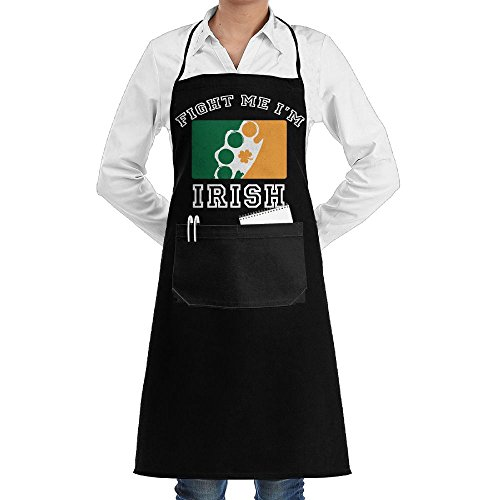 Fight Me I'm Irish Adjustable Kitchen Chef Bib Apron With Front Pocket For Mens And Womens