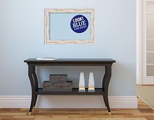 Amanti Art Framed Blue Cork Board Small, Alexandria White Wash: Outer Size  22 x 16 Whitewash
