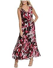DKNY Womens Purple Patterned Sleeveless V Neck Maxi Fit + Flare Dress AU Size:18