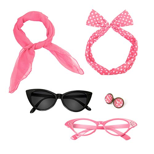 Retro 50's Costume Accessories Set Polka Dot Chiffon Scarf Cat Eye Glasses Bandana Tie Headband & Earrings for Girls Women Ladies Dress Up (Pink)]()