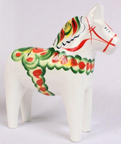 Traditional Wooden Swedish Dala Horse - White 8