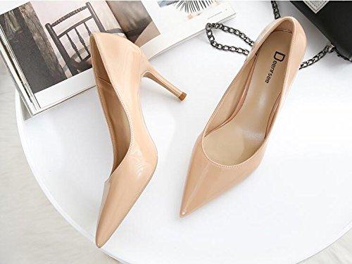 Xue Qiqi Zapatos de Corte para Mujer (Tacón Alto, Puntas Finas, con Zapatos de Novia, Zapatos de Boda), Nude Color 6CM, 31 31|Nude color 6CM