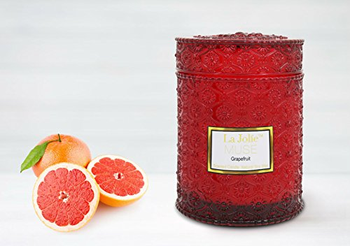 LA JOLIE MUSE Apple Grapefruit Scented Candles Wood Wicks 21 Ounce, 100% Soy Wax, Red Glass Jar, Gifts for Her - Glass Wood Candle