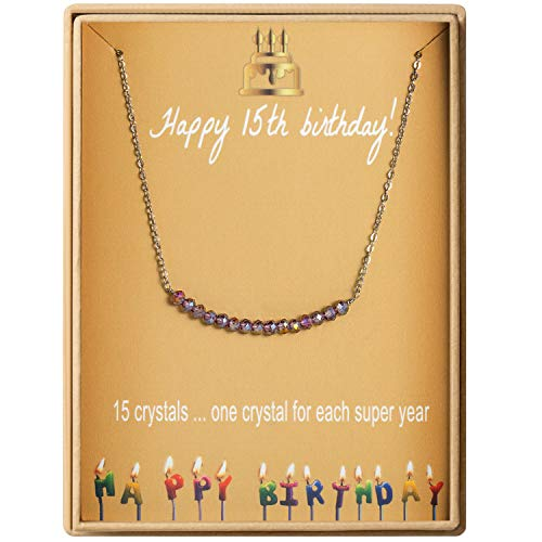 15th Birthday Gifts Necklace for Her S925 Sterling Silver Necklace 15 Crystal Beads for 15 year old Girl Jewelry Gift for Girls Quinceanera Gift