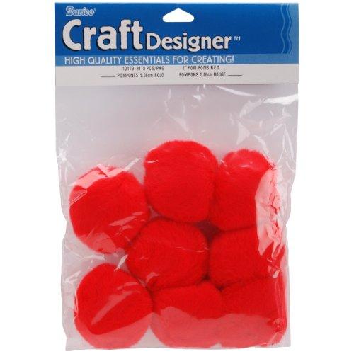 Darice 8-Piece Acrylic Pom Pom, 2-Inch, Red -