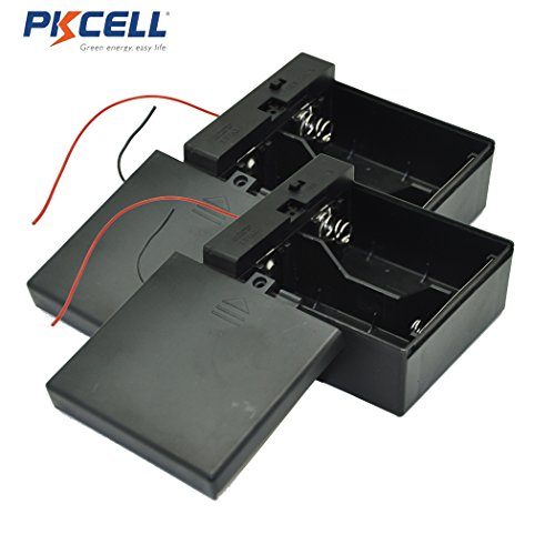 (PKCELL 2-Slot D Size Battery Holder Contain Two Wires With Cover And Switch (2pc))