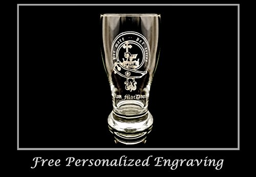 Scottish Beer (Clan MacDonald (McDonald) Scottish Crest Pint Glass- Free Personalized Engraving, Family Crest, Pub Glass, Beer Glass, Custom Beer Glass)