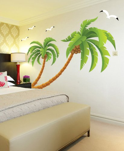 kappier giant green palm trees with seagulls wall decals beachfront decor. Black Bedroom Furniture Sets. Home Design Ideas