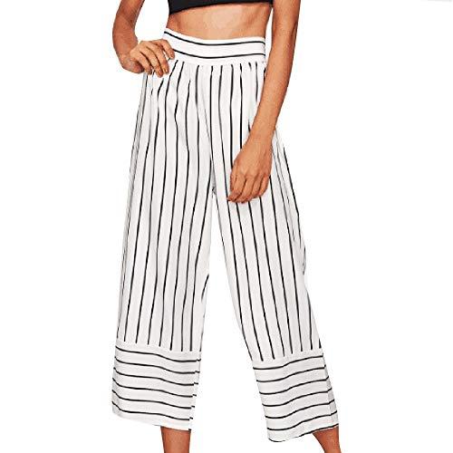 POQOQ Pants Women Sexy High Waist Stripe Print Floral Palazzo Lounge Wide Leg XL White