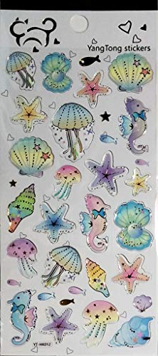 PP Stickers 1 Sheet Shellfish Squid Starfish Fish sea Animals Vinyl Stickers Design Scrapbooking Card Diary Album for Teachers Classroom and School