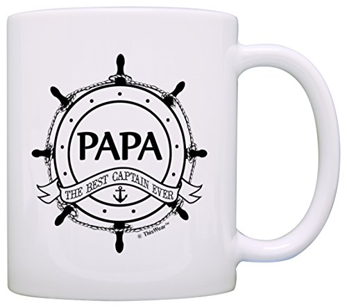 Father's Day Gift for Grandpa Papa Best Captain Ever Nautical Gift Coffee Mug Tea Cup White