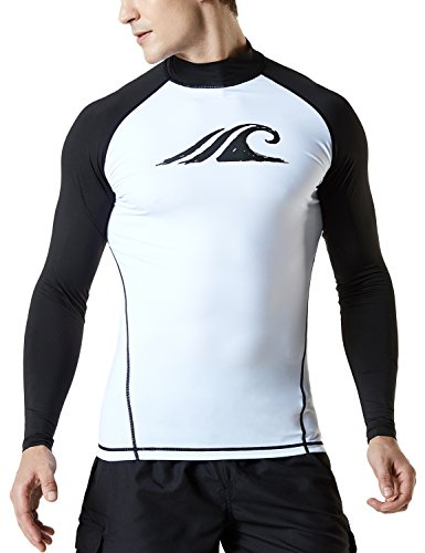 TSLA Men's UPF 50+ Long Sleeve Rashguard, Print(msr12) - White & Black, Small