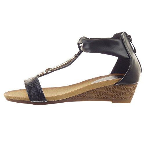 Sopily - Zapatillas de Moda Sandalias correa Tobillo mujer strass Piel de serpiente Talón Plataforma 4 CM - Negro