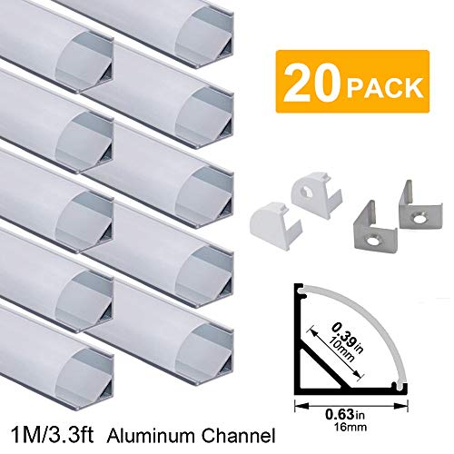 hunhun 20-Pack 3.3ft/1Meter V Shape LED Aluminum Channel System with Milky Cover, End Caps and Mounting Clips, Aluminum Profile for LED Strip Light Installations, Very Easy Installation