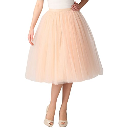 Lisong Women Tea Length Layered Tulle A-line Party Prom Skirt 4 US Champagne