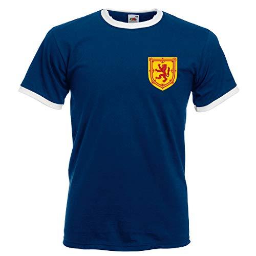 Print Me A Shirt Camiseta Fútbol Personalizable para Adultos de la Selección de Escocia, Camiseta Azul Escocia, Camiseta…