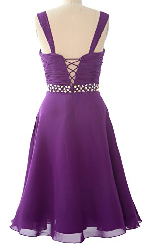 MACloth Elegant Straps Chiffon Cocktail Dress Short Wedding Party Formal Gown Pewter