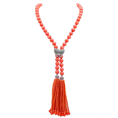 (JYX Long Pendant Tassel Necklace Handmade 10-10.5mm Pink Coral Opera Necklace Adjustable 42