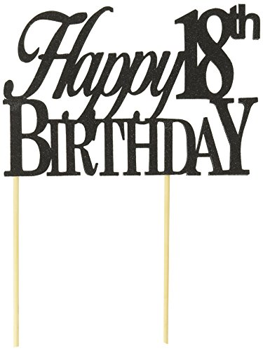 All About Details Black Happy 18th Birthday Cake Topper