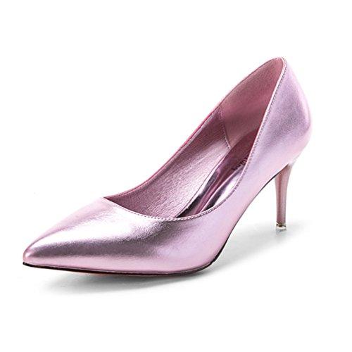 Élégant Talon Inconnu Fashion Slip Chaussures Miroir Pointu Femmes Mesdames on Vernis Couleur Aiguilles Escarpin PU Rose Métallique Hauts OL Soiree Respirent 07rwqrExZ