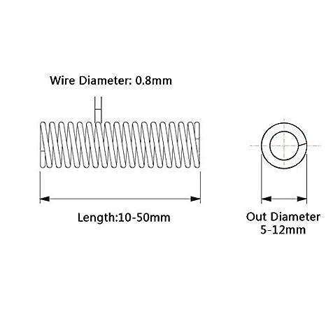 F-Jiujin 10pcs compresi/ón del Resorte 304 de Acero Inoxidable no corrosivo de la tensi/ón del Resorte de Alambre de 0,8 mm Di/ámetro Exterior Di/ámetro 9 mm Longitud 10 mm-50 mm tama/ño : 25mm