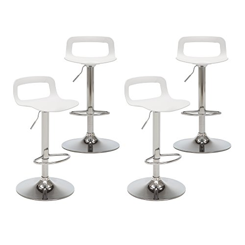Chrome Stools - NOBPEINT Contemporary Chrome Air Lift Adjustable Swivel Bar Stool, Set of 4, White