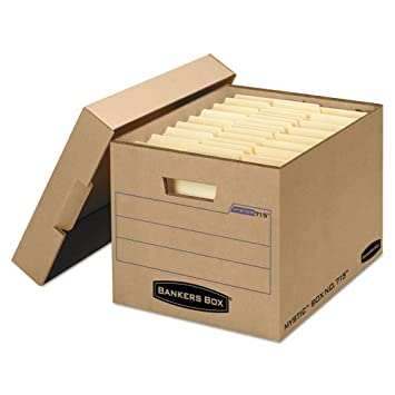 Amazon.com : Filing Storage Box with Locking Lid, Letter/Legal, Kraft, 25/Carton, Sold as 25 Each : Office Products