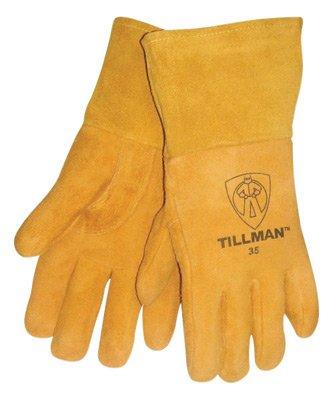 Tillman Medium 12'' Gold Deerskin Cotton/Foam Lined Premium Grade MIG Welders Gloves With Straight Thumb, 4'' Gauntlet Cuff And Kevlar® Lock Stitching