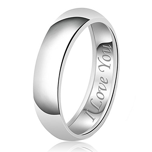 7mm I Love You Engraved Classic Sterling Silver Plain Wedding Band Ring, Size 11