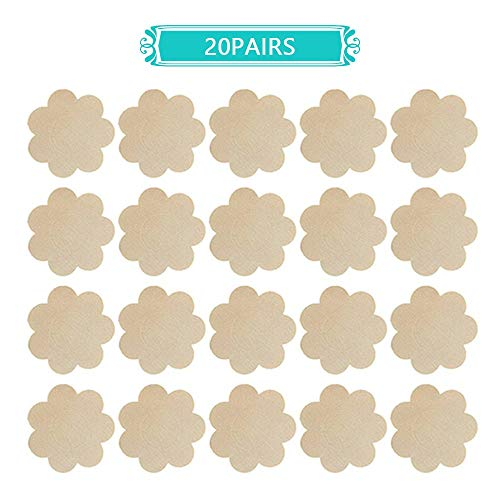 (NippleCovers, Disposable Breast Pasties Adhesive Bra Nippleless Cover (Beige 20 Pairs New Version))