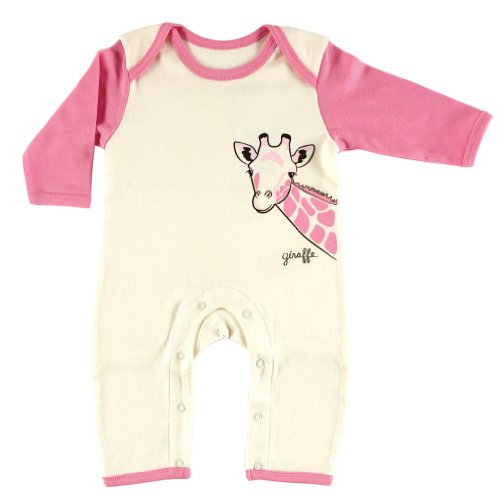 Touched by Nature Organic Cotton Romper, Giraffe, 3-6 Months]()