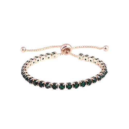 DZTZ Adjustable Bracelet,Simple Diamond Bracelet with Adjustable Crystal Push Pull Bracelet Bling Light for Girl Mother (B)