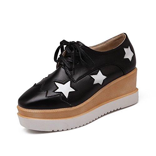 geschlossene sortierte Heels PU Frauen Farbe schwarz VogueZone009 Kätzchen Quadrat sich schnüren Pumps Schuhe Zehe oben w1BvaUq