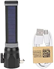 Seguridad de la linterna - Aleación de aluminio negro T6 Energía solar Carga USB Emergencia al aire libre Multifunción Impermeable LED Martillo de seguridad Linterna(8524 Short)