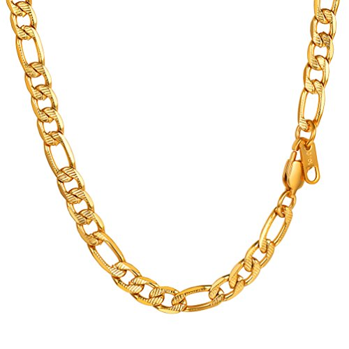 "Chain Necklace,Men Jewelry,Figaro Chain,18""/20""/22""/24""/26""/28""/30"",0.24'' Wide,Gift for Him,316L Stainless Steel,18K Gold Plated"