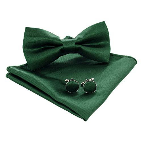 (JEMYGINS Mens Dark Green Bow Tie and Pocket Square Cufflink Set)