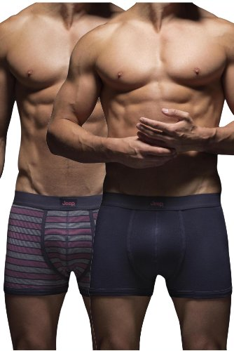 Jeep Men's 2 Pack Wide Stripe and Plain Hipster Trunks Small (Patterned Stripe Boxer)