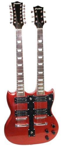 Guitarra eléctrica de doble cuello Cherrystone 4260180883121, metálica, color rojo