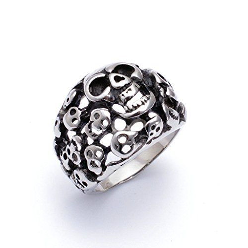 Men's 316L Stainless Steel Vintage Embossed Ring Silver Size (Costume Jewellery Marks Identification)