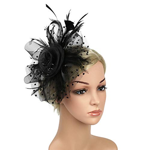 Fascinators Hats for Women Ladies Girls Bridal Tea Party Hat Black Fascinators for Cocktail Kentucky Derby 20s Party Head wear
