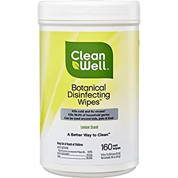 CleanWell Botanical Disinfecting Wipes - Lemon Scent, 160 Count