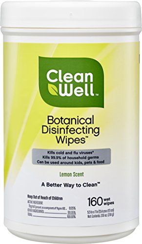 CleanWell Botanical Disinfecting Wipes - Lemon Scent, 160 Count - plant-based, botanical, disinfects, deodorizes, kid friendly, no animal testing