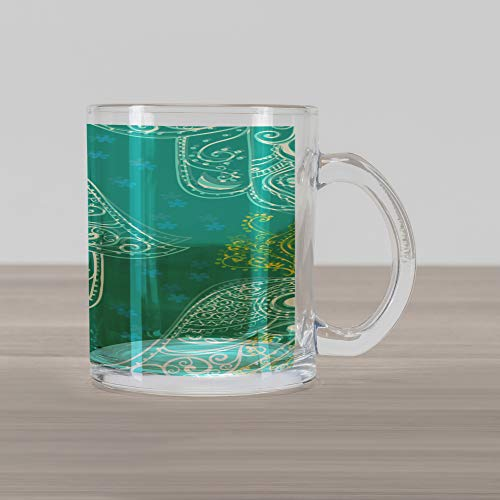Ambesonne Evil Eye Glass Mug, Eastern Charm Religious Hand of Fatima Pattern with Cute Little Daisies, Printed Clear Glass Coffee Mug Cup for Beverages Water Tea Drinks, Teal White Yellow - Evil Eyeglass Charm