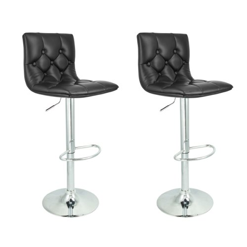 Apontus PU Leather Swivel Hydraulic Bar Stool, Set of 2, Black