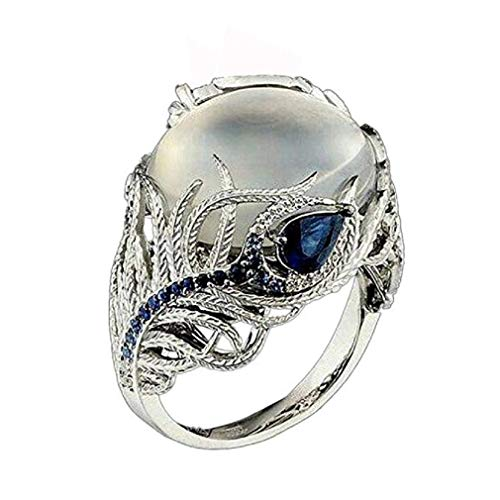 ICHQ Vintage Classic Diamond Female Ring, Unique Creative Blue Square Diamond Wedding Band Flower Moonstone Ring (Multicolor, 7)