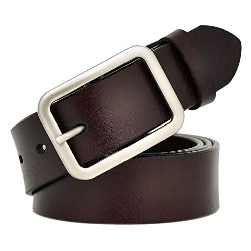 Silver Tool Belt - Vonsely Wide Leather Womens Belts for Jeans, Unisex Square Buckle Belts for Men and Women